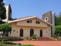 Paraguay, Ciudad del Este: San Blas cathedral, boat architecture. Paraguay, Ciudad del Este: San Blas cathedral (1964) is a major architecture attraction. By the Royalty Free Stock Image