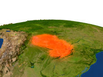 Paraguay en rojo de la órbita ilustración del vector