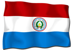 Paraguay Flag. Flag of Paraguay waving in the wind - clipping path included Vector Illustration