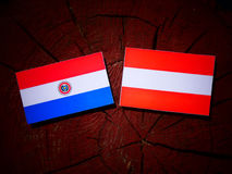Paraguay flag with Austrian flag on a tree stump  Stock Images