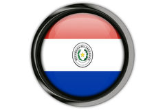 Paraguay  flag in the button pin Isolated on White Background Royalty Free Stock Photos