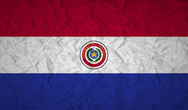 Paraguay flag with the effect of crumpled paper and grunge Royalty Free Stock Photo