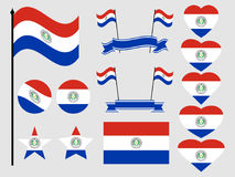 Paraguay flag set. Collection of symbols, flag in heart. Vector Royalty Free Stock Photos
