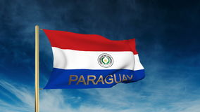 Paraguay flag slider style with title. Waving in stock video