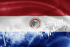 Paraguay flag, stock market, exchange economy and Trade, oil production, container ship in export and import business and. Logistics, south, america, background vector illustration