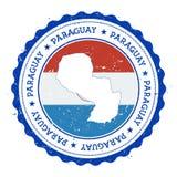 Paraguay flaga w rocznik pieczątce i mapa Obrazy Stock