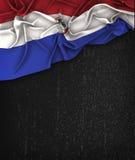 Paraguay flaggatappning på en svart tavla för Grungesvart royaltyfria bilder