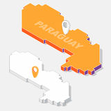 Paraguay-Flagge auf dem Kartenelement mit isometrischer Form 3D lokalisiert auf Hintergrund Stockbilder