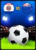 Paraguay gegen Neuseeland auf Fußball-Stadions-Ereignis-Hintergrund stock abbildung