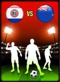 Paraguay gegen Neuseeland auf Stadions-Ereignis-Hintergrund stock abbildung