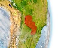 Paraguay im Rot auf Erde Lizenzfreies Stockbild