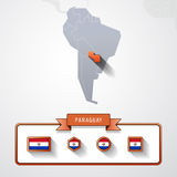 Paraguay info card. Paraguay on the map of South America with flags Royalty Free Stock Photos