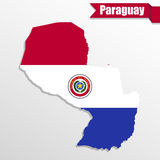 Paraguay map with flag inside and ribbon Royalty Free Stock Photography