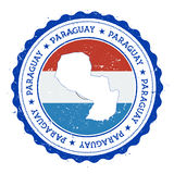 Paraguay map and flag in vintage rubber stamp. Stock Images