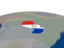 Paraguay met vlag Royalty-vrije Stock Foto's