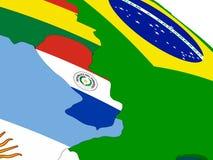 Paraguay op 3D kaart met vlaggen Royalty-vrije Stock Afbeelding