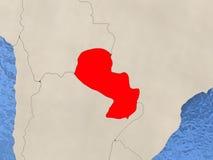 Paraguay op kaart Stock Foto's