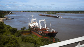 Paraguay River in Asuncion. General view on wide surface of the Paraguay River with Asuncion Stock Image