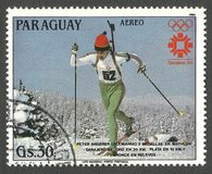 Olympics in Sarajevo, Peter Angerer. Paraguay - stamp 1984, Multicolor Air Mail Edition, Winter sports, Olympic Games Biathlon, Series Winner of the Winter Stock Photo