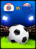 Paraguay versus New Zealand on Soccer Stadium Event Background Stock Image