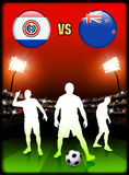 Paraguay versus New Zealand on Stadium Event Background Royalty Free Stock Photo