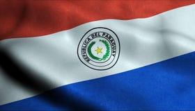 Paraguay vinkande flagga i 3D royaltyfri illustrationer