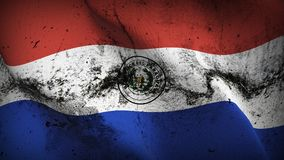 Paraguay grunge dirty flag waving on wind. Paraguayan background fullscreen grease flag blowing on wind. Realistic filth fabric texture on windy day Royalty Free Stock Photo
