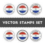 Paraguayan flag rubber stamps set. National flags grunge stamps. Country round badges collection Royalty Free Stock Photo