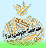 Paraguayan Guarani Shows Exchange Rate And Banknote Stock Image