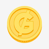 Paraguayan guarani symbol on gold coin. Paraguayan guarani currency symbol on gold coin, money sign vector illustration isolated on white background Stock Photography