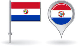Paraguayan pin icon and map pointer flag. Vector Royalty Free Stock Photo