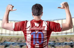Paraguayan soccer player celebrating in the stadium Stock Photo