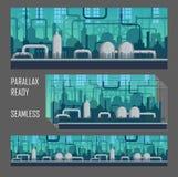 Paralaksa przygotowywający przemysłowy gemowy środowisko ilustracji