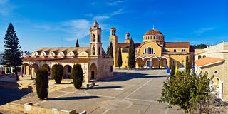 Paralimni city in Cyprus. Panorama view of Paralimni city in Cyprus. The medieval church of St George and modern St Varvara basilic on the Cathedral Square Royalty Free Stock Photos