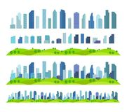 Parallax Effect Ready City future Building skyscraper Separate scenes architecture and landscape. vector illustration