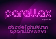 Parallax vector linear neon typefaces, alphabet, letters, font,. Typography Global swatches Royalty Free Stock Image