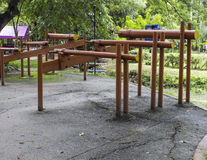 The parallel bar exercise equipment in the park Stock Images