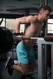 Parallel Bars Exercise For Triceps And Chest. Young Muscular Fitness Bodybuilder Doing Heavy Weight Exercise For Triceps And Chest on Parallel Bars In The Gym Royalty Free Stock Photos