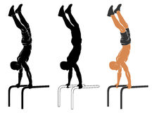 Parallel bars handstand Royalty Free Stock Images
