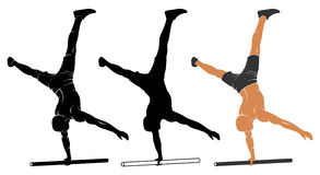 Parallel bars one-arm handstand Stock Images