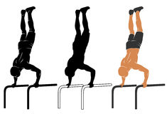 Parallel bars push-up Stock Images