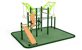 Parallel bars at sports ground for workout. 3D rendering. Royalty Free Stock Photography