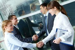 Parallel handshakes Royalty Free Stock Photography