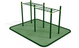 Parallel horizontal bars at sports ground for workout. 3D rendering. Royalty Free Stock Image