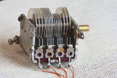 Parallel plate capacitor. Ancient parallel plate capacitor which was the first version of the modern electrolytic capacitor, base of the modern electronics. This stock photo