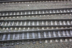 Parallel rail ways, close up Stock Photo