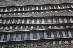 Parallel rail ways, close up Royalty Free Stock Photography