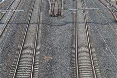 Parallel railway lines. Detail, sunny day, photo from bridge above, white balance adjustment royalty free stock image