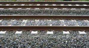 Parallel railways. Detail of two parallel railways Royalty Free Stock Image