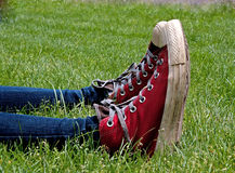 Parallel Red High Top Tennis Shoes in Green Grass Royalty Free Stock Photos